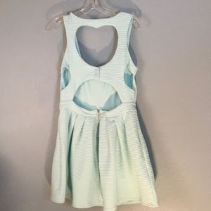Poof Couture Lg Blue w Silver Thread Mini Dress